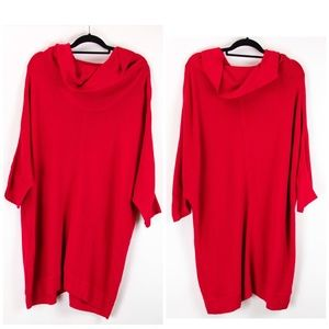 Lane Bryant Red Cowl Neck Dolman Sleeve Dress